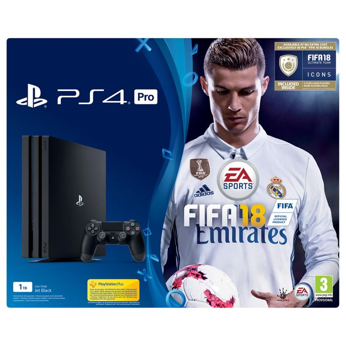 PS4 Pro Console 1TB, with DUALSHOCK 4 Controller and FIFA 18