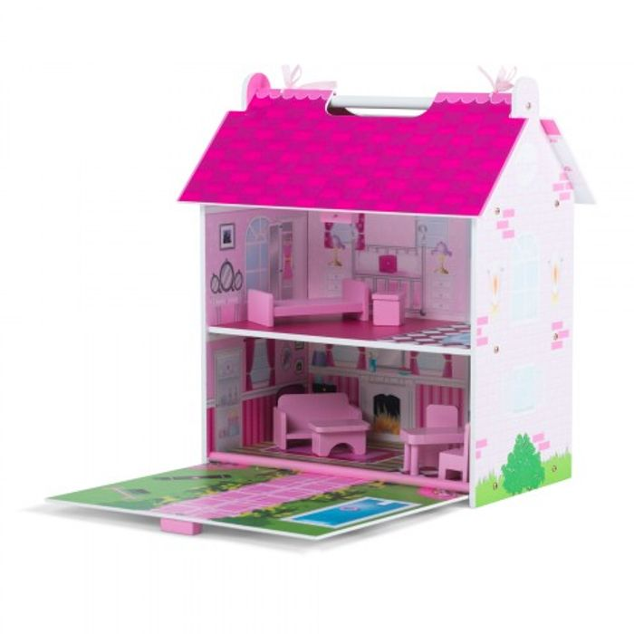 Plum - Pink Wooden Dolls House / Furniture