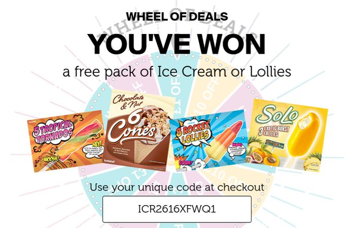Free Pack of Ice Cream or Lollies or £1 off Your Shop at Iceland