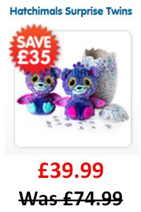 SAVE £35! Hatchimals Surprise Twins Purple or Teal