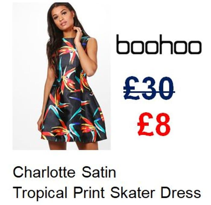73% off Satin Tropical Print Skater Dress at Boohoo. SIZE 8