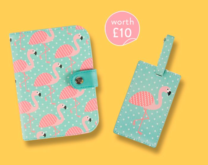 A Free Flamingo Passport Holder & Luggage Tag Set W/ £30 Spend at Sass & Belle