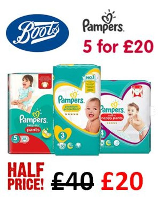 HALF PRICE PAMPERS - 5 for £20 at Boots! TIME to STOCK UP!