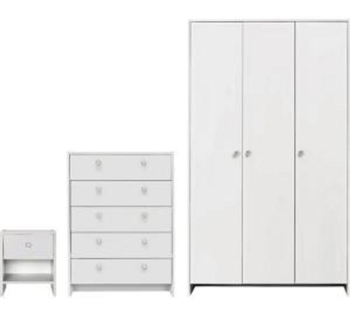 Get 3 Door Wardrobe + Set of 5 Drawers & Bedside Table Package Only £126.18