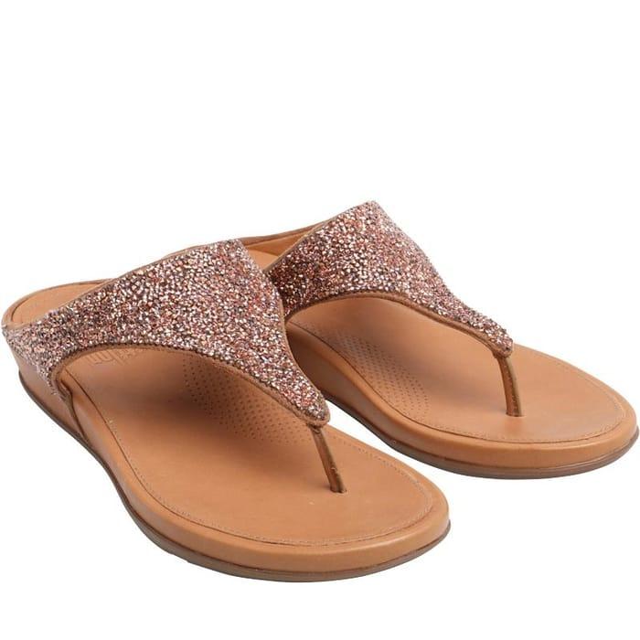 FitFlop; Womens Banda Crystal Toe Post Sandals - Rose Gold