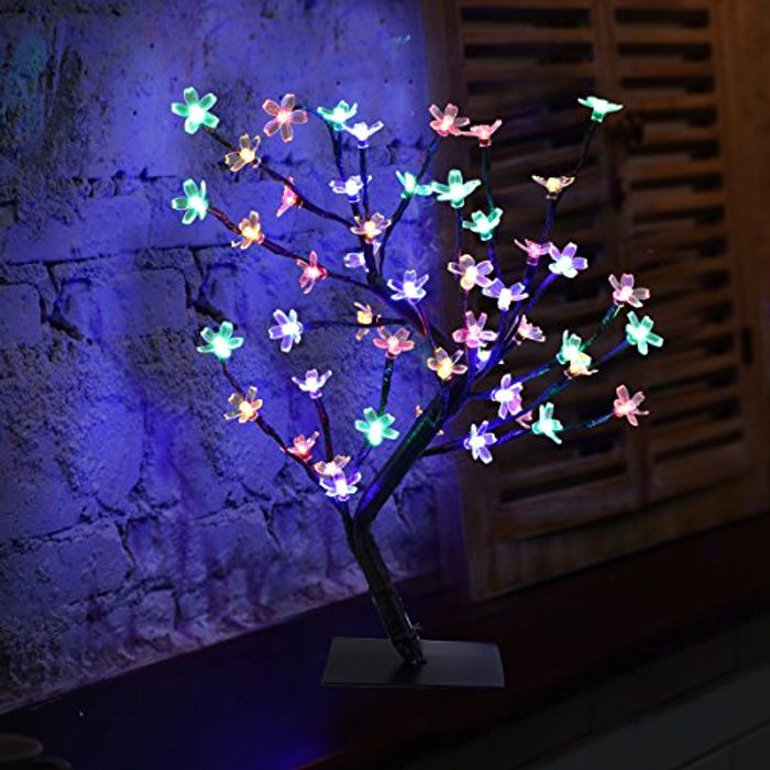 0.45m/1.5ft 48LED Blossom Bonsai Tree Lights with Adjustable Black Branches