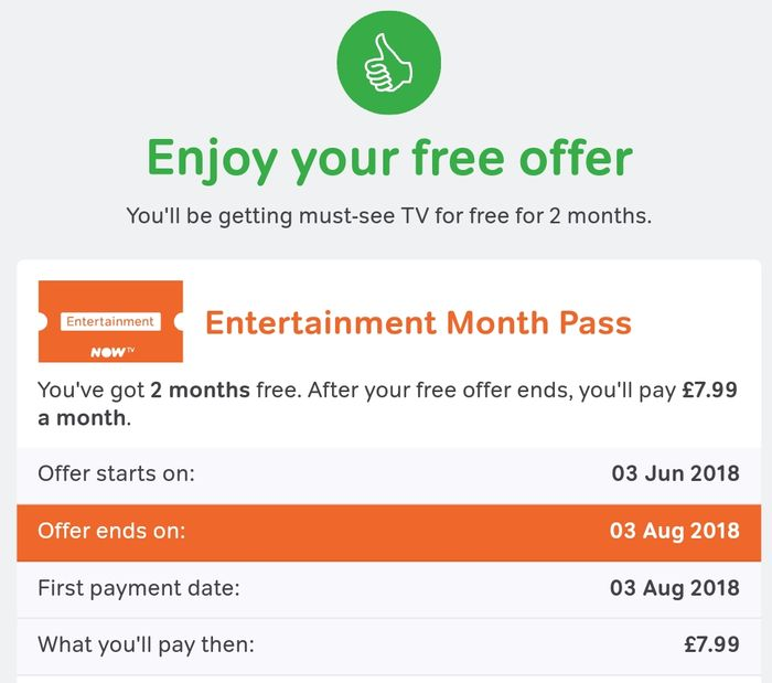 2 Months of Sky's Now TV Entertainment Pass for Current Customers