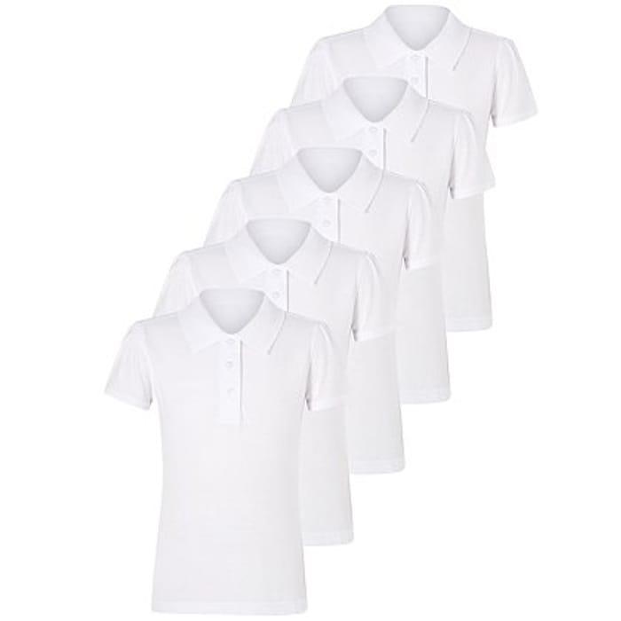 Girls White School Polo Shirts 5 Pack