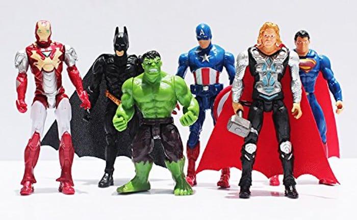 Marvel Figures, 6 Piece Hulk,ironman,superman,captain America,thor,batman