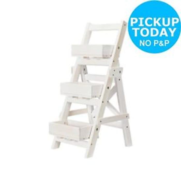 Solid Pine Wood Potting Ladder - White - from Argos Shop/ebay
