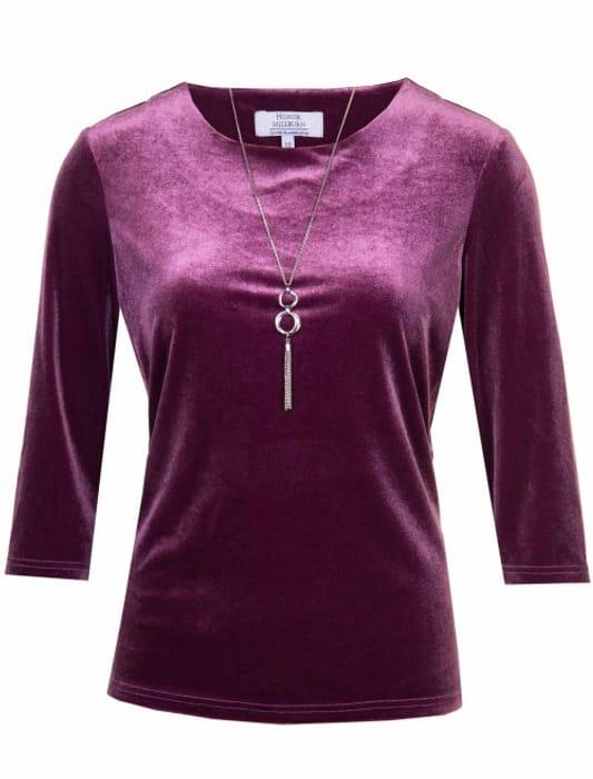 3/4 Sleeve Plain Velour Necklace Trim Top