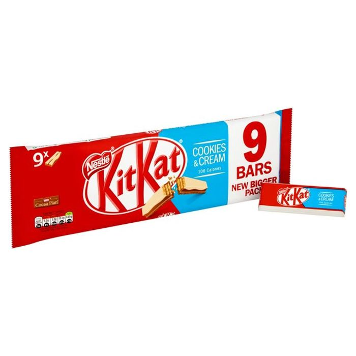 9x Kit Kat 2 Finger Cookies & Cream Chocolate Bars