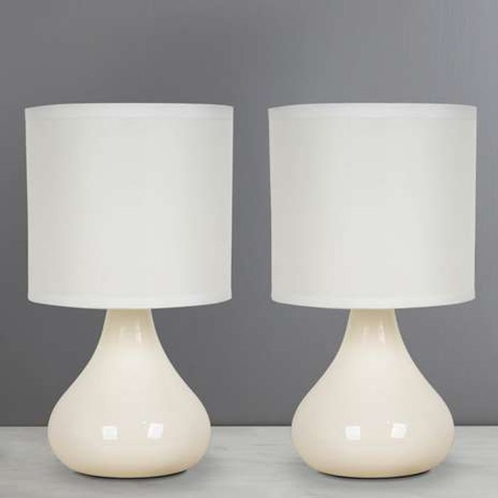Essentials Pair of Ivory Touch Table Lamps