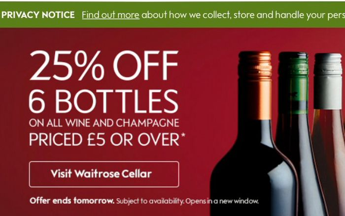 25% off Wine & Champagne for 6 Bottles over £5 Each