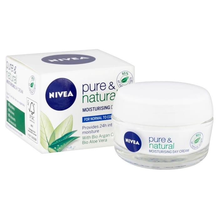 Wilko - Nivea Pure & Natural Moisturizing Day Cream - 50 Ml - Half Price