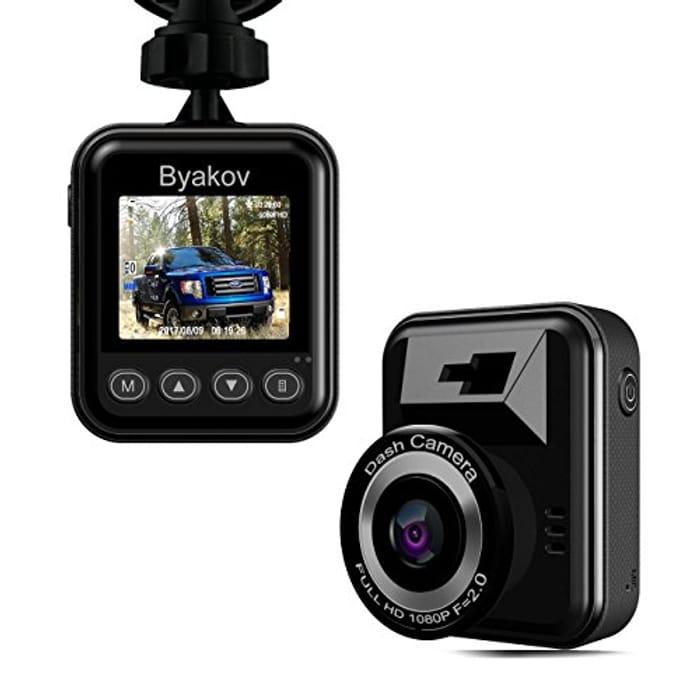 Byakov Dash Cam Full HD 1920x1080p 1.5inch LCD 170 Degrees