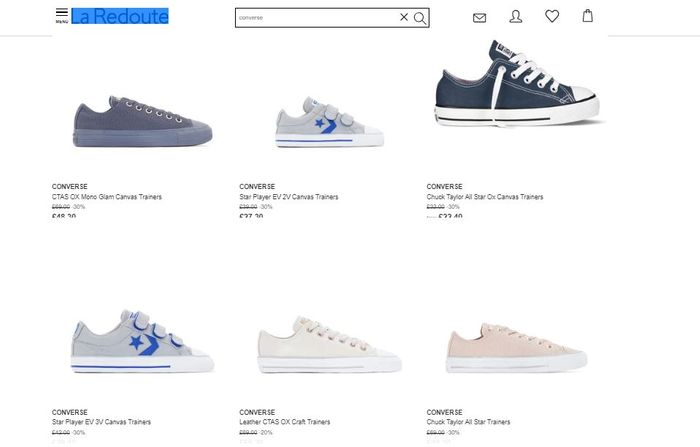 SALE 30% off on Converse at La Redoute