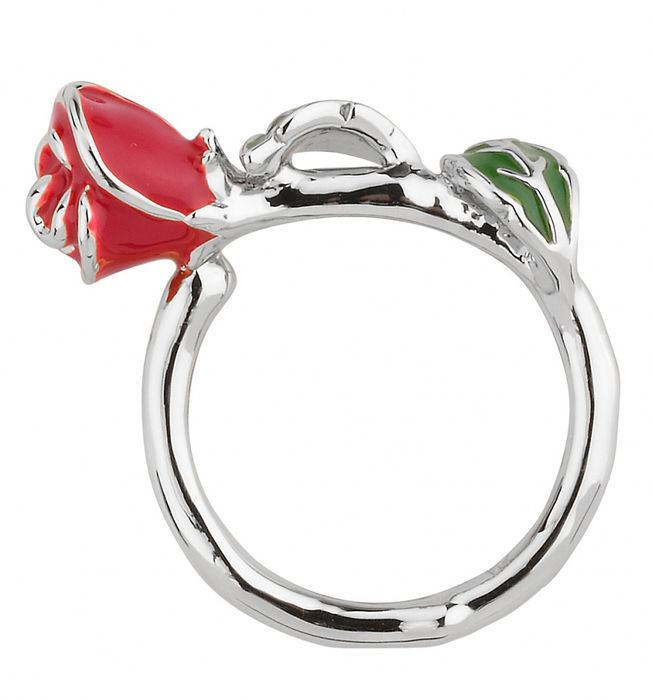 White Gold Plated Beauty & the Beast Enchanted Rose Ring