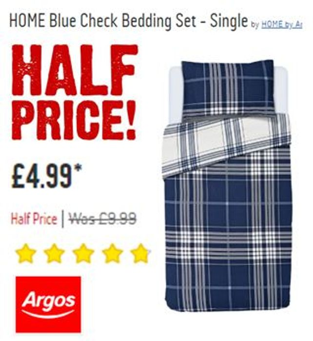 HALF PRICE at ARGOS Blue Check Duvet Set - Single - Now Just £4.99!