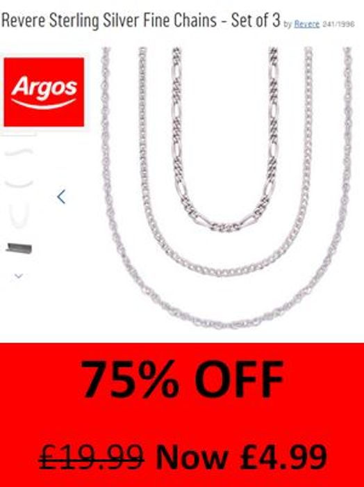 75% OFF! Set of 3 Sterling Silver Fine Chains £4.99 ARGOS BARGAIN