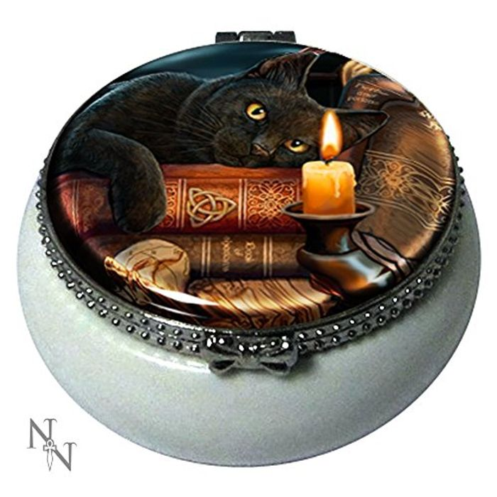 Witching Hour Black Cat Mini Trinket Box ""