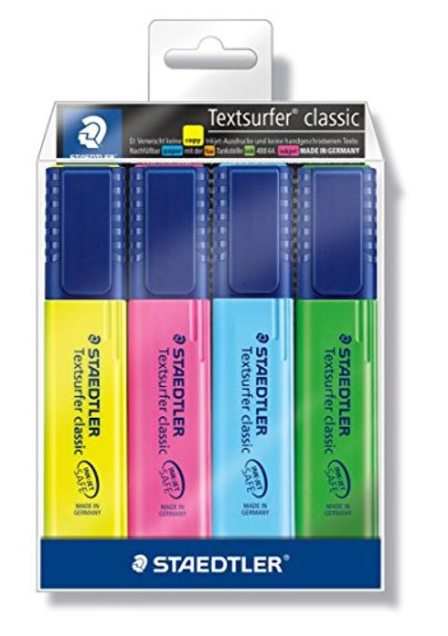 Staedtler Textsurfer Classic 364 Highlighter - Assorted Colours, Pack of 4