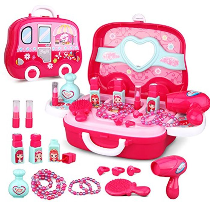 Role Play Jewelry Kit for Girls Toy Set Princess Suitcase Gift for Kids