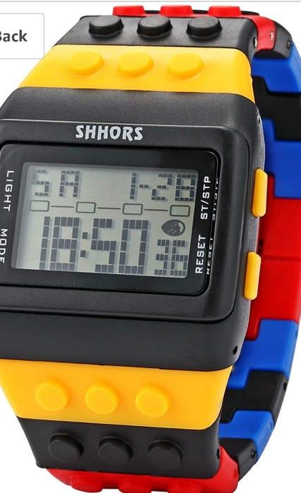 Rainbow Rubber Lego Digital Alarm Watch
