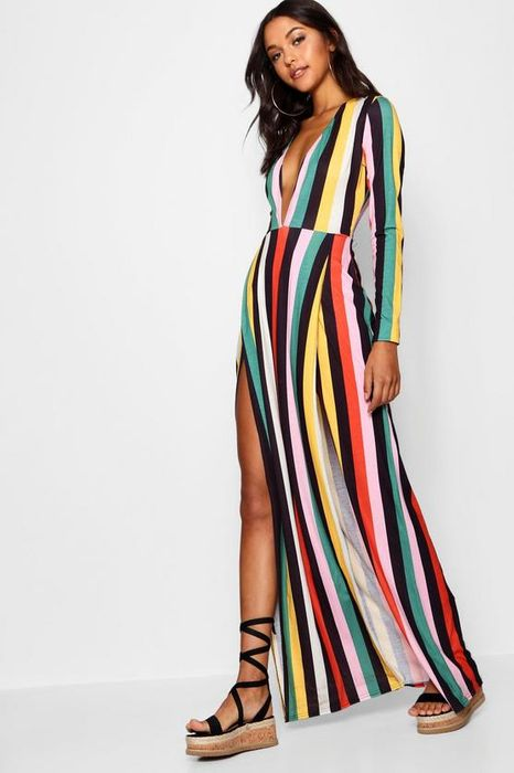 Tall Plunge Side Split Stripe Maxi Dress