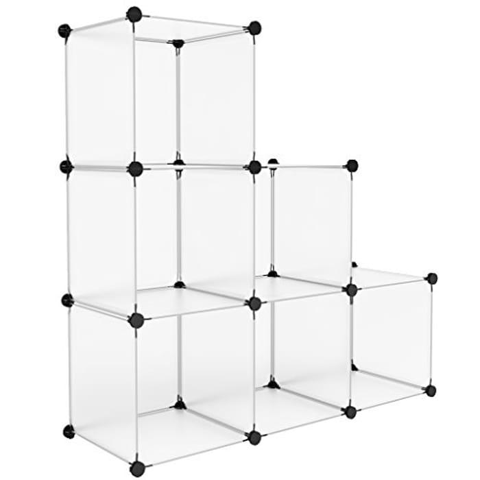 Interlocking Plastic Wardrobe Cabinet 6-Cube Open Storage and Organizer