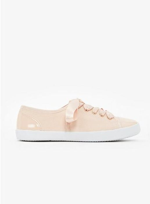 Nude Ribbon Lace Trainers