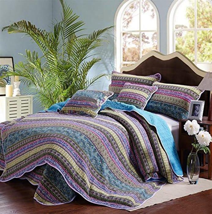 3 Pc King Size Striped Jacquard Style BedSpread