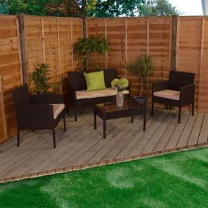 Kendal Garden Rattan Furniture 4 Piece Set Black Brown Only £95.96