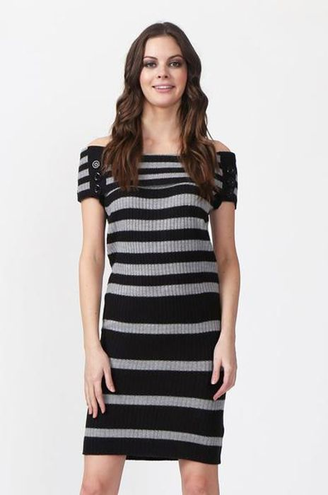 Rib Knit Stripe Bardot Dress