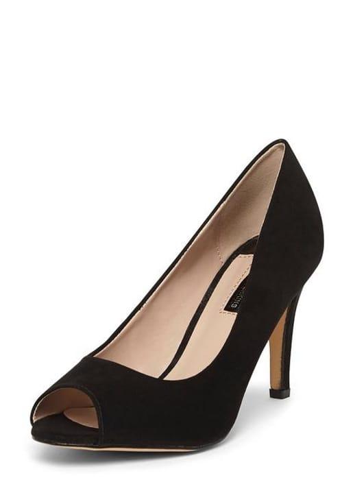 Black 'Clover' Peep Toe Court Shoes