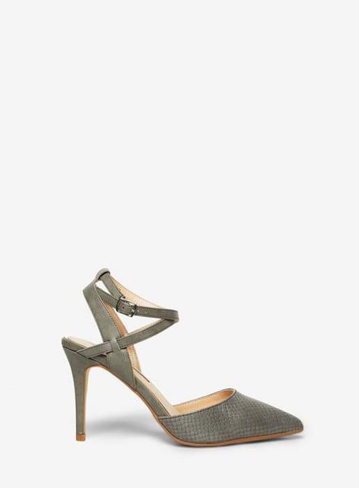 Grey 'Glamorous' Embossed Court Shoes