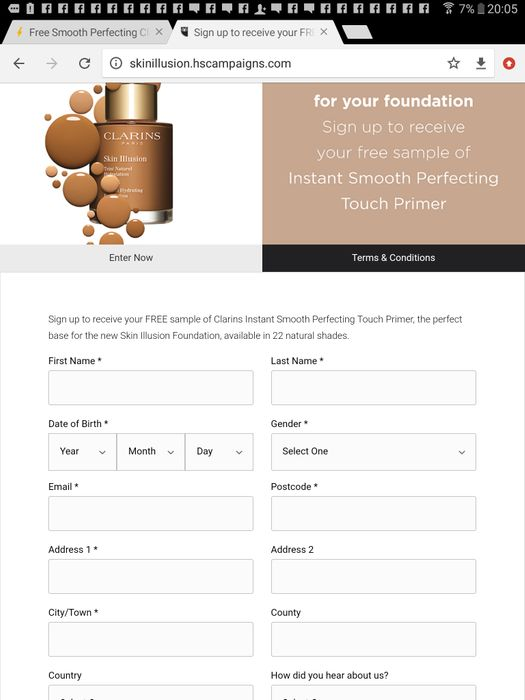 Free Smooth Perfecting Clarins Primer Sample