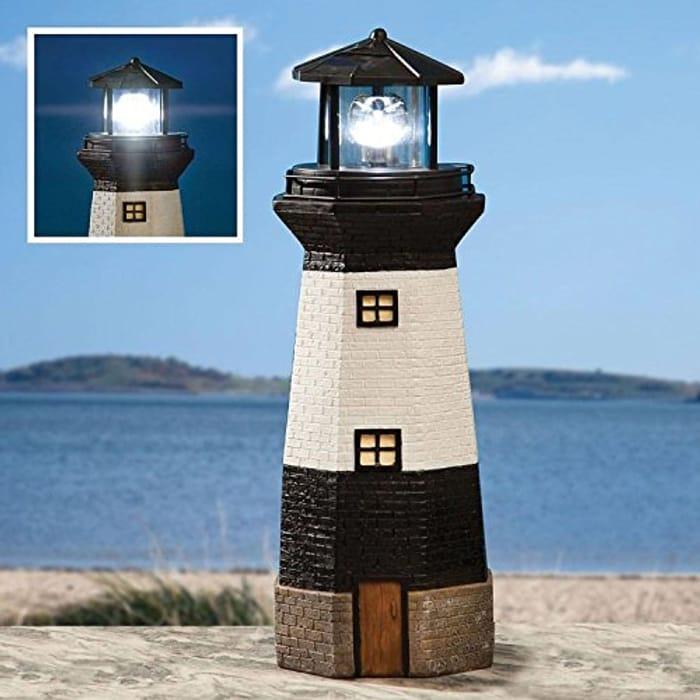 Solar Powered Light House Garden Lighthouse Ornament with Rotating Led