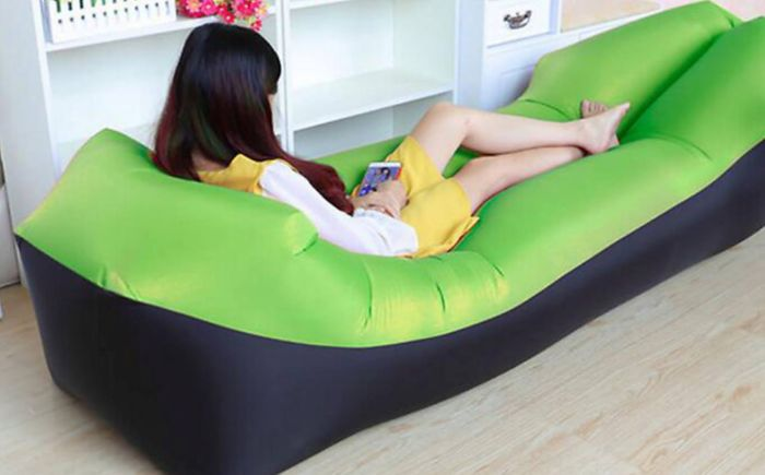 New Style! Extra Large Inflatable Air Lounger with Headrest - 6 Colours