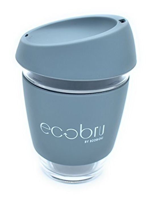 Eco-Friendly Reusable Glass Coffee Cup with Silicone Lid.