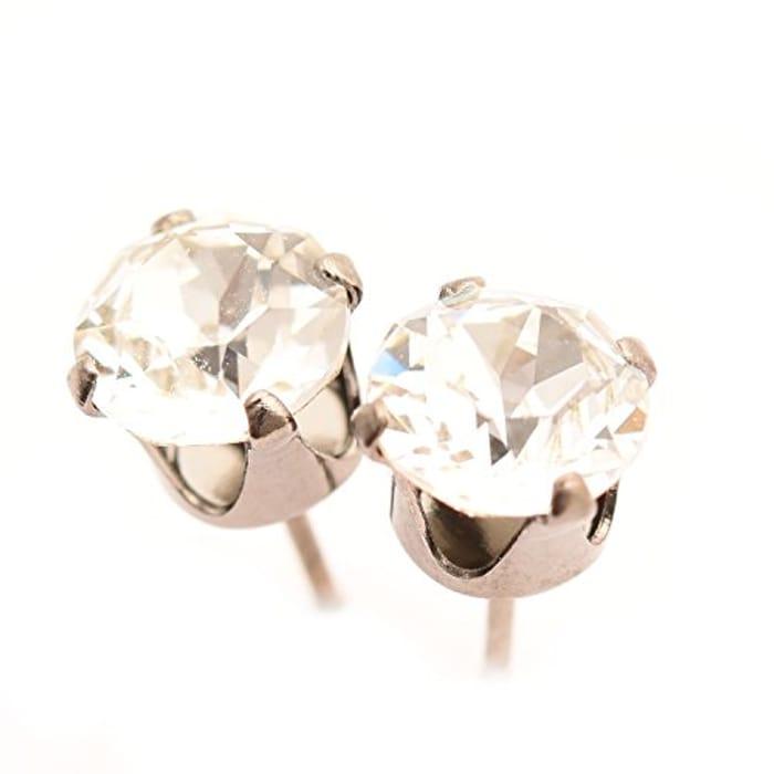 R Black Rhodium Stud Earrings Made from SWAROVSKI®