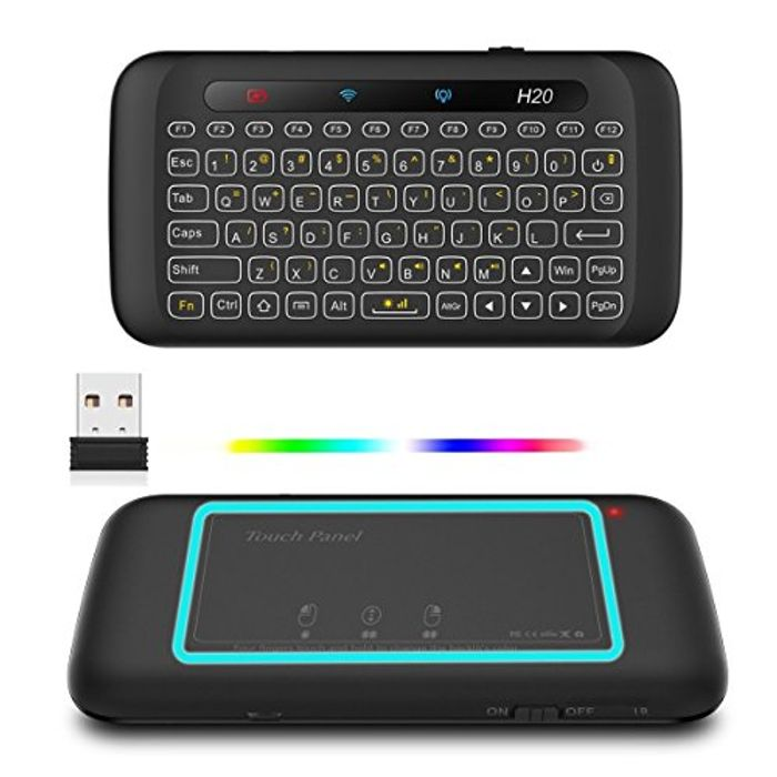 Air Mouse H20 Mini Wireless Keyboard with Touchpad Mouse, Backlit Keyboard