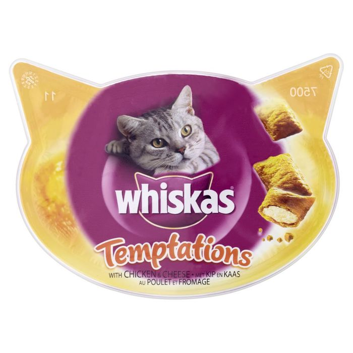 Whiskas Cat Treats Temptations Chicken and Cheese 60g