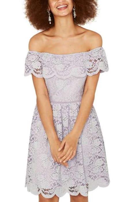 Oasis Lace Bardot Skater Dress
