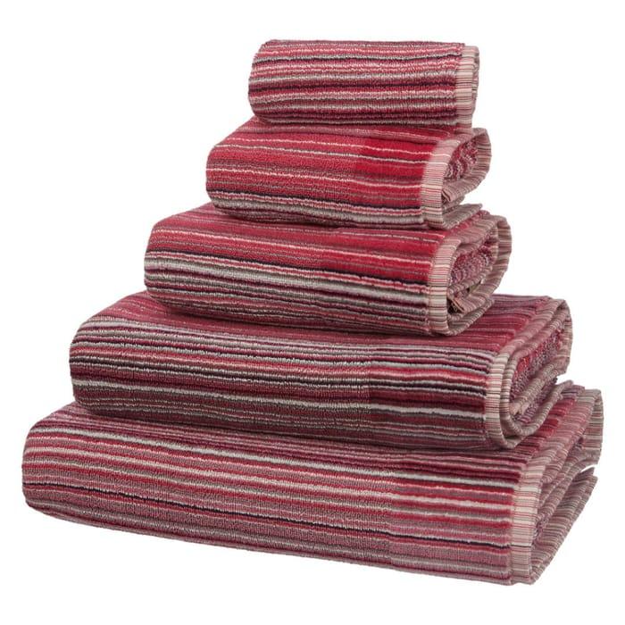 John Lewis Spirit Stripe Towels, Berry
