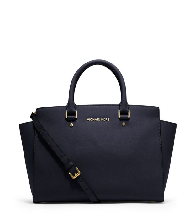 70% off Selma Large Saffiano Leather Satchel in Navy or Luggage Colour