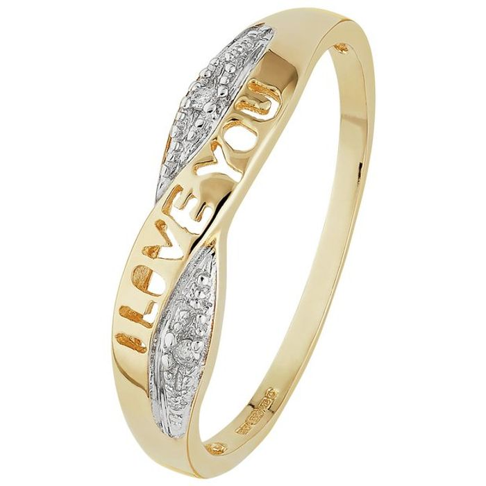 75% off to 9ct Gold Diamond Accent 'I Love You' Crossover Ring