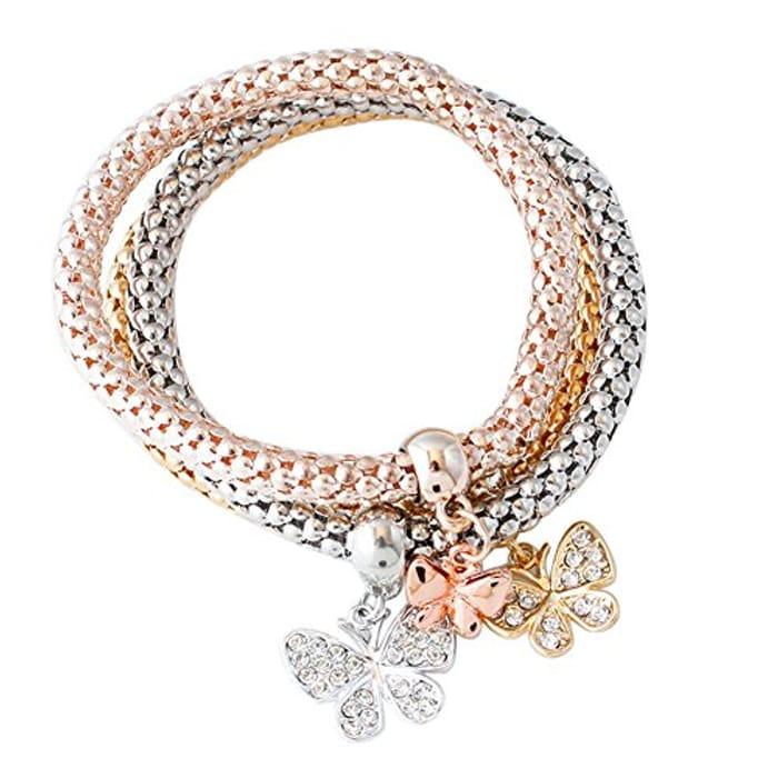 Domybest 3Pcs Gold Silver Rose Gold Bracelets Set Rhinestone Bangle