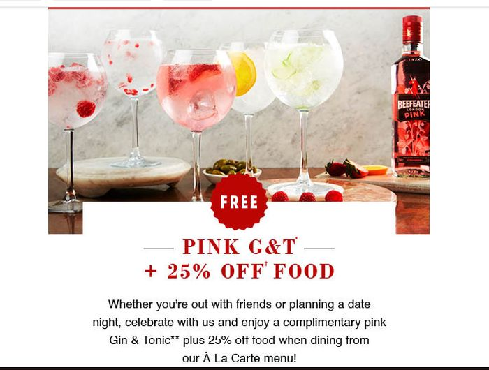 Free Pink G&T and 25% off a La Carte Menu at Cafe Rouge with Codes