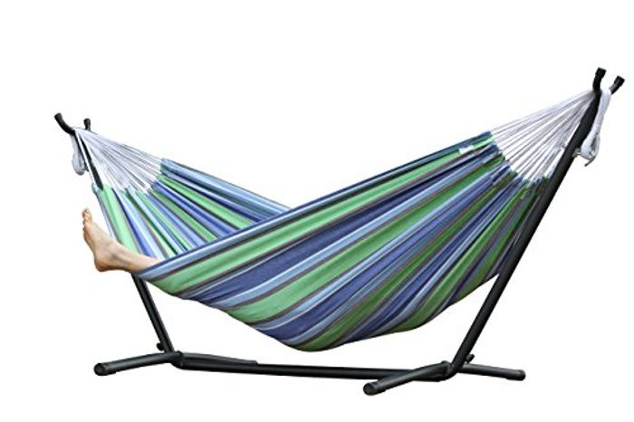 Vivere Double Cotton Oasis Hammock with Stand - Multi-Colour